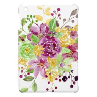 Watercolor gold plummy bouquet iPad mini cover