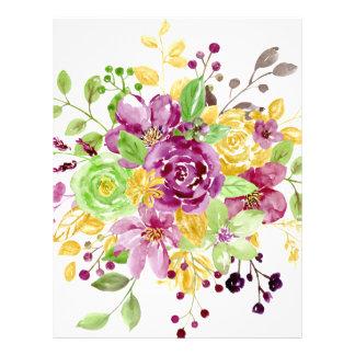 Watercolor gold plummy bouquet letterhead