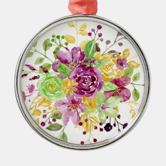 Watercolor gold plummy bouquet metal ornament
