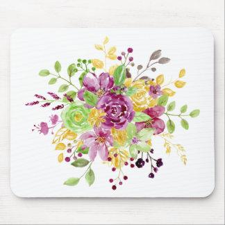 Watercolor gold plummy bouquet mouse pad