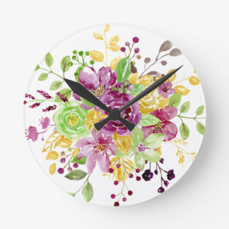 Watercolor gold plummy bouquet round clock