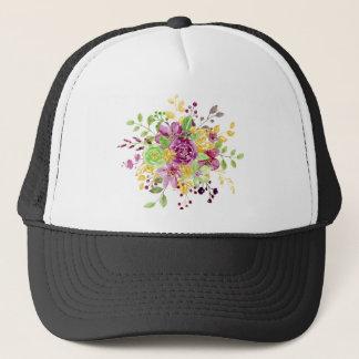 Watercolor gold plummy bouquet trucker hat