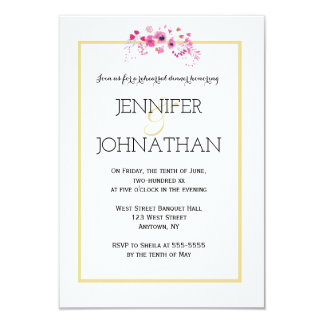 Watercolor gold rehearsal dinner  invitations