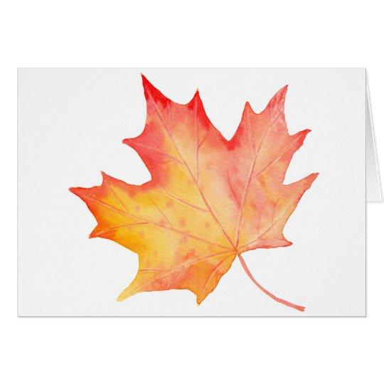 Watercolor Golden Maple Leaf Card