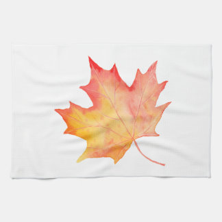 Watercolor Golden Maple Leaf Kitchen Towel