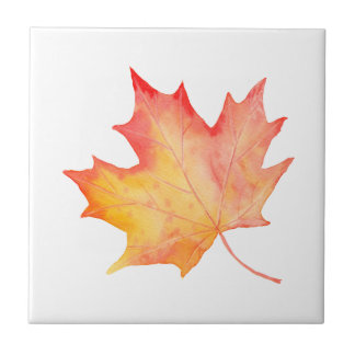 Watercolor Golden Maple Leaf Tile
