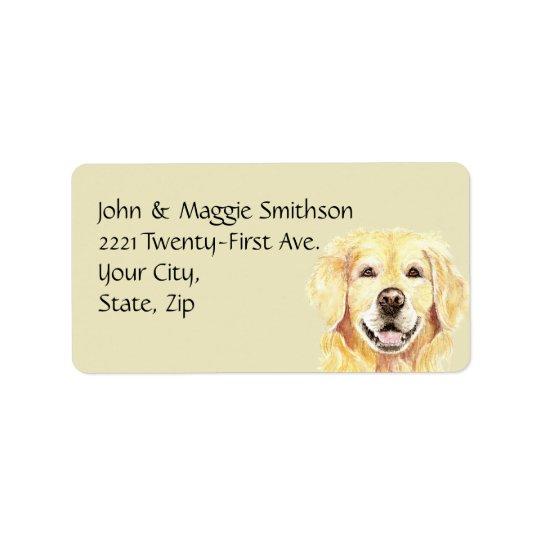Watercolor Golden Retriever Dog Pet Animal Address