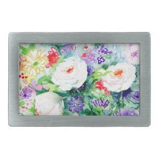 Watercolor Good Mood Flowers Belt Buckles