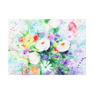 Watercolor Good Mood Flowers Canvas Print