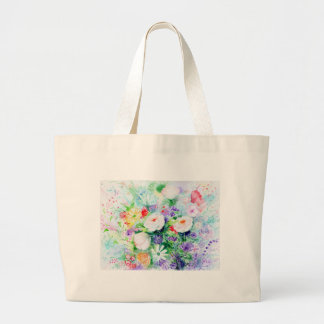 Watercolor Good Mood Flowers Large Tote Bag