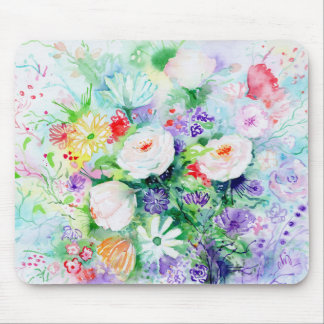 Watercolor Good Mood Flowers Mouse Pad
