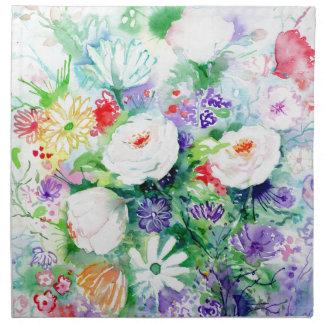 Watercolor Good Mood Flowers Napkin