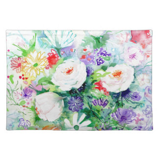 Watercolor Good Mood Flowers Placemat
