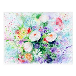 Watercolor Good Mood Flowers Postcard
