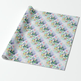 Watercolor Good Mood Flowers Wrapping Paper