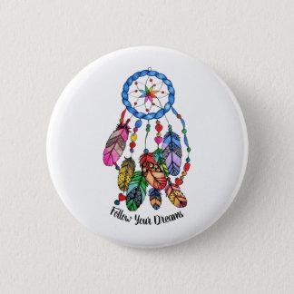 Watercolor gorgeous rainbow dream catcher 2 inch round button