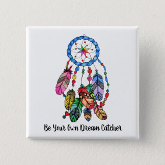 Watercolor gorgeous rainbow dream catcher 2 inch square button