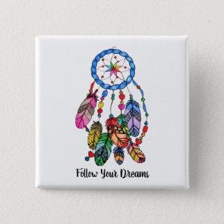 Watercolor gorgeous rainbow dream catcher 2 inch square button