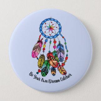 Watercolor gorgeous rainbow dream catcher 4 inch round button