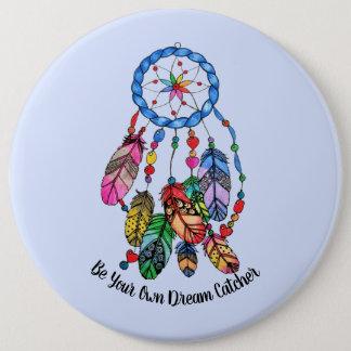 Watercolor gorgeous rainbow dream catcher 6 inch round button