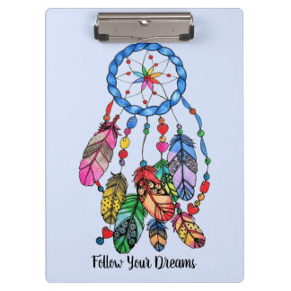 Watercolor gorgeous rainbow dream catcher clipboard