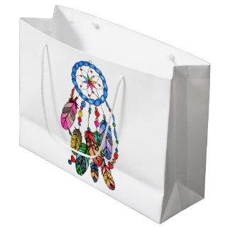 Watercolor gorgeous rainbow dream catcher large gift bag