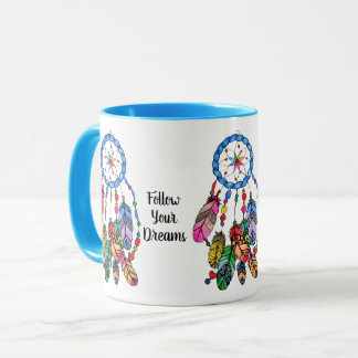 Watercolor gorgeous rainbow dream catcher mug