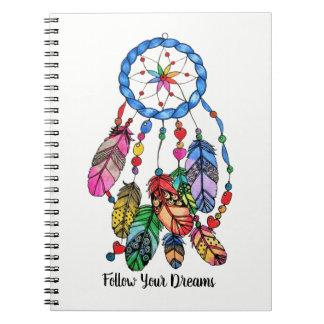 Watercolor gorgeous rainbow dream catcher notebooks