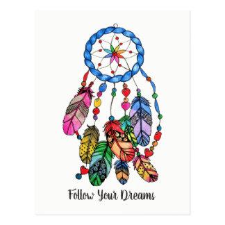 Watercolor gorgeous rainbow dream catcher postcard