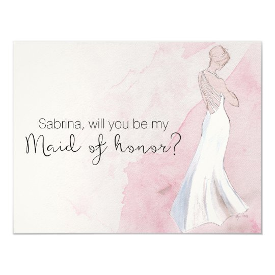 """Watercolor Gown """"Will you be my maid of honour"""" Card"""