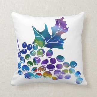 Watercolor Grapes in Cool Colors Throw Pillow