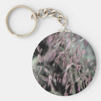 Watercolor Grasses in Pink Basic Round Button Keychain