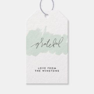 Watercolor Grateful Holiday Gift Tags - Frost