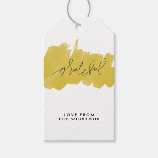 Watercolor Grateful Holiday Gift Tags - Golden Pack Of Gift Tags