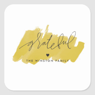 Watercolor Grateful Sticker - Golden