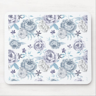 Watercolor Gray peony Pattern Mouse Pad
