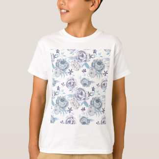 Watercolor Gray peony Pattern T-Shirt