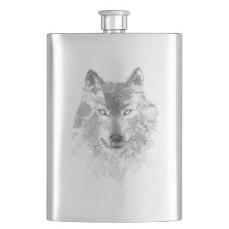 Watercolor Gray Wolf Classic Flask