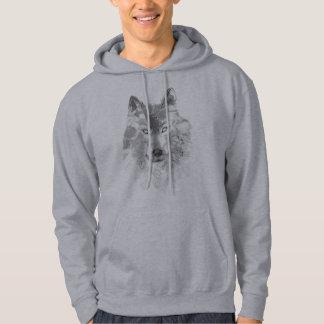 Watercolor Gray Wolf Hoodie