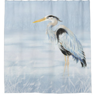 Watercolor Great Blue Heron Bird Art