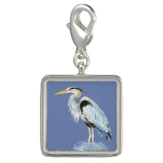 Watercolor Great Blue Heron Bird Charm