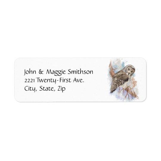 Watercolor Great Grey Owl Bird Nature Art