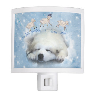 Watercolor Great Pyrenees Sleeping Pup Night Lights