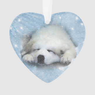 Watercolor Great Pyrenees Sleeping Pup Ornament