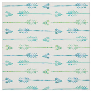 Watercolor Green and Blue Arrows Fabric
