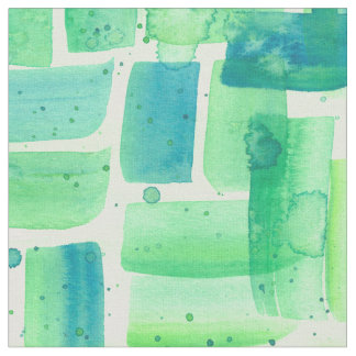 Watercolor Green Bricks Fabric