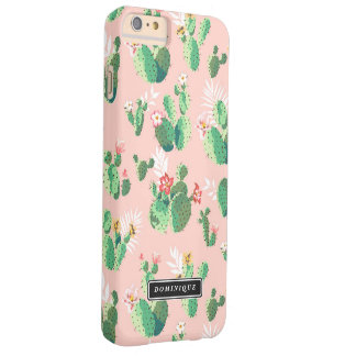Watercolor Green Cactus Pattern Pink iPhone Case