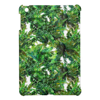Watercolor green fern forest fall pattern iPad mini cover