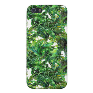 Watercolor green fern forest fall pattern iPhone 5 cases