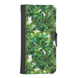 Watercolor green fern forest fall pattern iPhone SE/5/5s wallet case